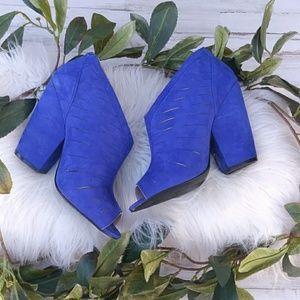 Ashley Stewart Blue Peep Toe Booties